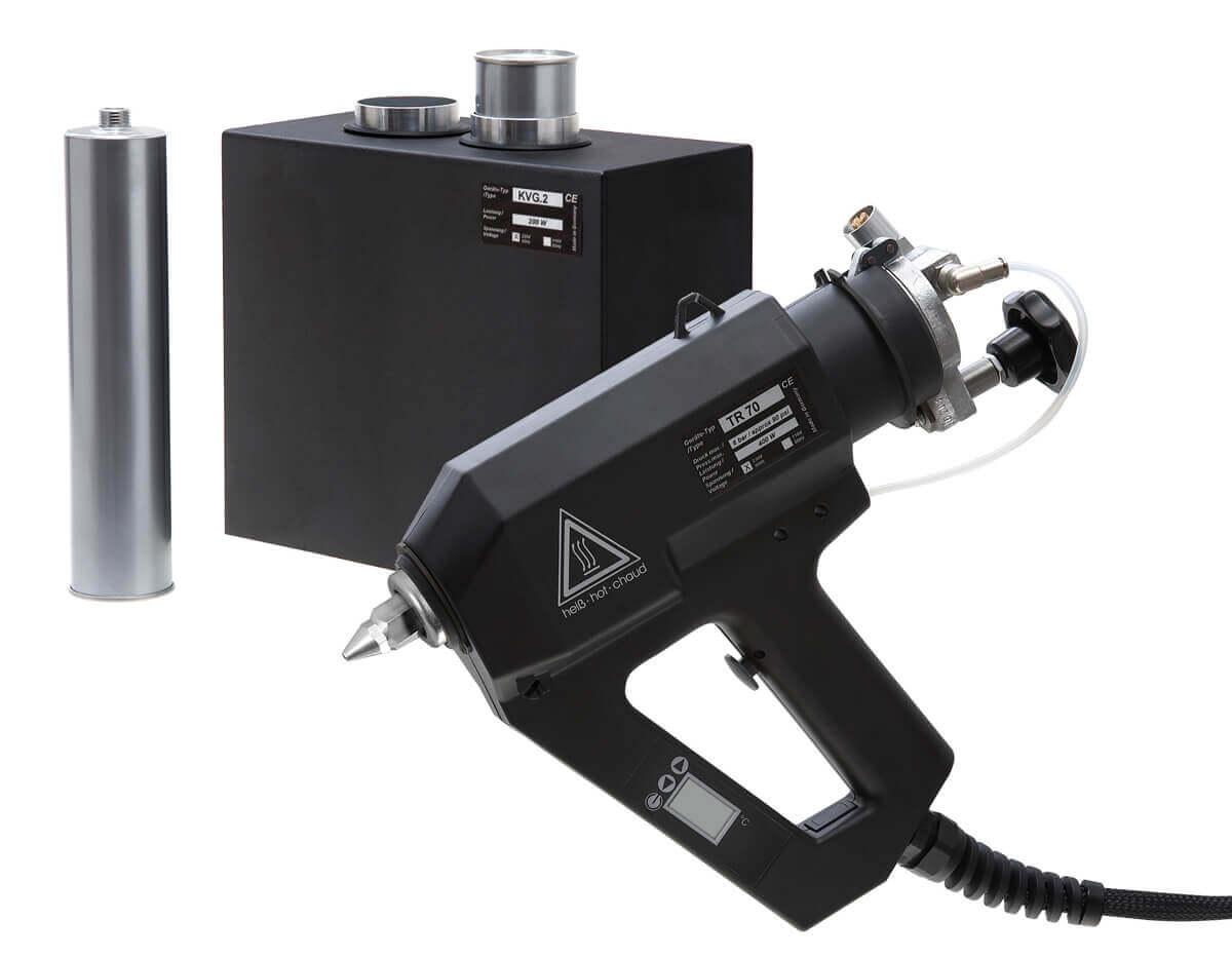 Kartuschenklebepistole TR 70 LCD mit Kartuschenvorwärmgerät KVG im Hintergrund