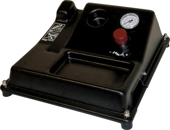 Ablagestativ mit Druckregler und Manometer für sicheres Platzieren der pneumatischen Reka Klebepistolen
