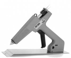Professionelle Stickklebepistole TR 500 mit Magnetfuß auf Ablageplatte