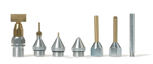 Nozzles for different hot melt adhesives and bonding applications